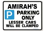 AMIRAH'S Personalised Parking Sign Gift | Unique Car Present for Her |  Size Large - Metal faced